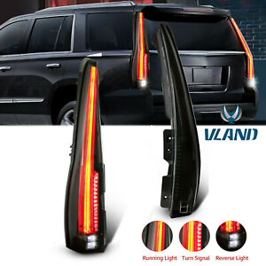 Pair Smoked Tinted Led Tail Lights For 07 2014 Cadillac Escalade Esv Rear Lamp