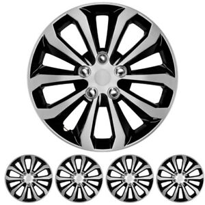 4 Pc Set 16 Hubcaps Black Silver Fits Toyota Camry 2012 2013 Spyder Wheel Cover