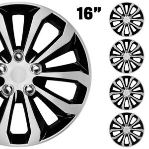 4 Piece 16 Hubcaps Black Silver Spyder Style Front Rear Total Cover Set