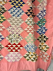 1930s 1940santique Vintage Flock Of Geese Quilt Folk Art Patchwork Quilt 100x93
