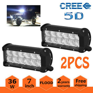 2x 7inch 36w Led Work Light Bar Spot Flood Offroad Suv Car Boat Driving Lamp 5d