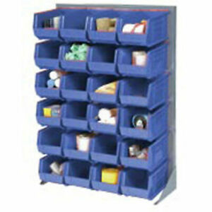 Louvered Bin Rack With 58 Blue Stacking Bins 35 w X 15 d X 50 h