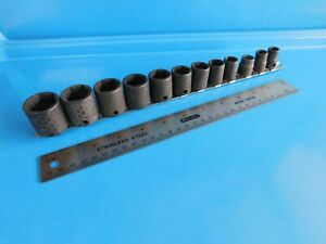 Used Snap On Tools 3 8 In Dr sae Short Impact Sockets 5 16 Thru 1 Inch
