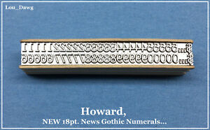 Howard Personalize Type 18pt News Gothic Numerals Hot Foil Stamping Machine