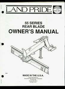 Land Pride 55 Series Rear Blade Illustrated Parts List Owner s Manual