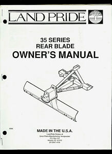Land Pride 35 Series Rear Blade Illustrated Parts List Owner s Manual