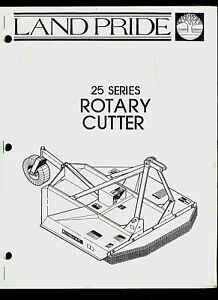 Land Pride 25 Series Rotary Cutter Original Factory Parts List Owner s Manual