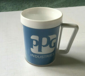 Vintage Ppg Industries Blue White Plastic Mug Cup Pittsburgh Paint Glass Company