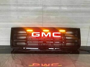 Front Bumper Grille Led Logo Letters Fit For 2007 2013 Gmc Sierra 1500 Grill