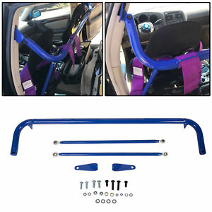 Stainless Steel Racing Safety Seat Belt Chassis Roll Harness Bar Kit Rod Blue