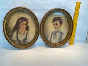 2 Vintage Oval Frames With Children Prints Photos