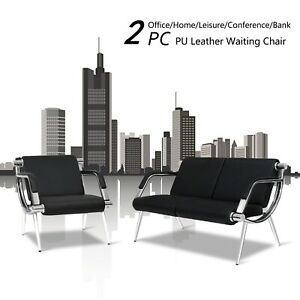 2pc Waiting Room Office Chair Pu Leather Airport Guest Reception Sofa Seat Black