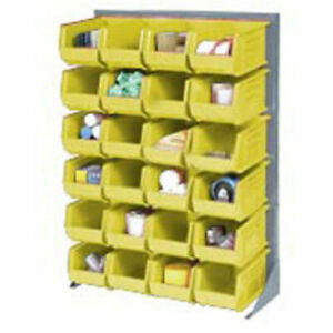 Louvered Bin Rack With 58 Yellow Stacking Bins 35 w X 15 d X 50 h
