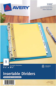 Avery 11102 Insertable Tab Dividers 5 5 X 8 5 5 Tabs Easy Customization