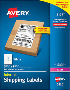 Avery 5126 Shipping Labels 5 5 X 8 5 200 Labels 2 Label Per Sheet Laser
