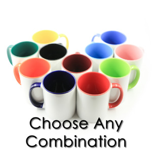 12pcs Sublimation Blanks Mugs 11oz White two Tone Color Aaa Qty Mix And Mach