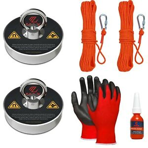 Maxmagnets Fishing Magnet 2 Pack Kit With Ropes Carabiners Gloves 500 Lb Pull