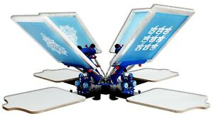 Four Color Four Station Single Wheel Overprinting Screen Printing Machine