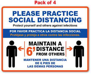 4 Social Distancing Sticker English Spanish Office Store Business Decal Sign