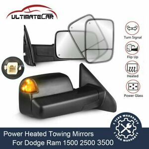 Power Heated Towing Mirrors Led Signal For Dodge 02 08 Ram 1500 03 09 2500 3500