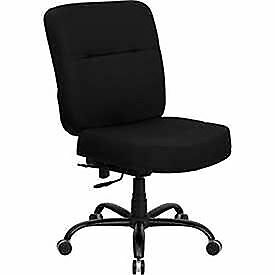 Big Tall Black Fabric Office Chair With Extra Wide Seat