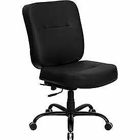 Big Tall Black Leather Office Chair With Extra Wide Seat