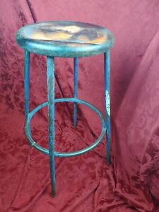 Vintage Industrial Metal Drafting Stool 30 Tall 14 Round Seat Footstool