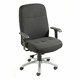 Big Tall High Back Chair With Adjustable T arms Fabric Upholstery Black