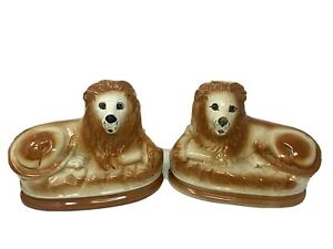 Superb Pair 19th C Antique Staffordshire Recumbent Lions With Glass Eyes
