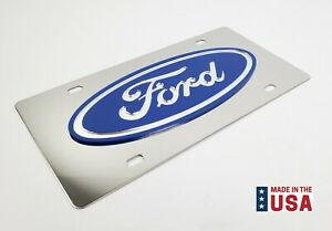 Premium Ford Oval Emblem Metal Vanity License Plate Blue Ford Logo
