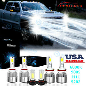 For Chevy Silverado 1500 2500 Hd 2007 2015 6000k Led Headlights Fog Bulbs Kit