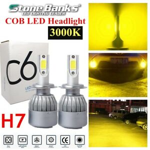 2pcs H7 Yellow 3000k Light Cob Led Headlight Bulbs 100w 20000lm Hi Lo Beams Us