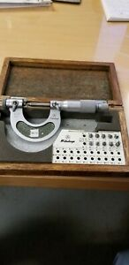 Mitutoyo 0 1 Thread Micrometer No 126 137a With All 12 Anvils Very Good Cond