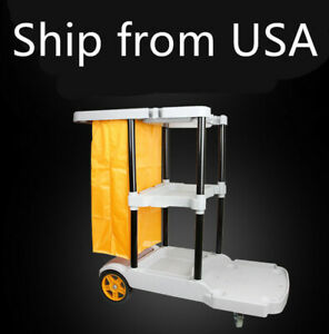 Housekeeping Janitorial Cart Janitor Cleaning Trolley 3 Shelf Rolling Waste Bag