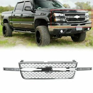 Honeycomb Grille Chrome Gray For 2005 2006 2007 Chevy Silverado Pickup Truck