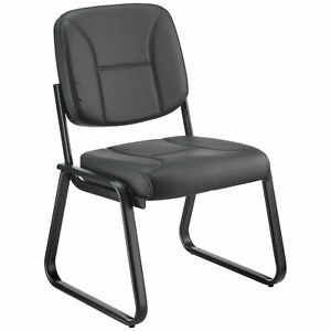 Bonded Leather Reception Chair Armless Black