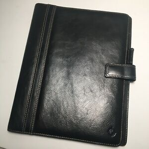 Franklin Covey Letter Size Black Leather Folio Organizer Padfolio