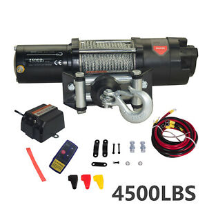 4500lb 12v Electric Recovery Winch Wireless Remote Control For Atvs Utvs