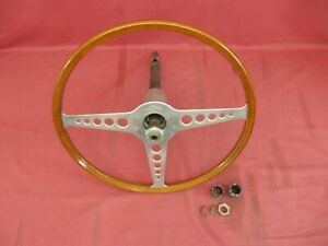 Vintage Jaguar Xke 16 Inch Wooden Steering Wheel With Upper Shaft