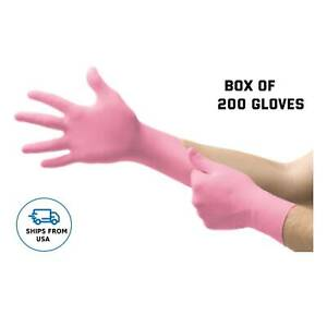 Pink Gloves Nitrile Exam Gloves Powder Free Disposable Box Of 200 Gloves