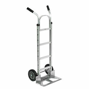 Aluminum Hand Truck Double Handle Mold on Rubber Wheels