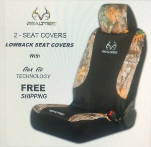 Realtree Edge Wildlife Low back Flexfit Seat Cover Black camo New Factory Sealed