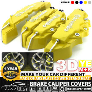 4x set Yellow 3d Style Front Rear Universal Disc Car Brake Caliper Cover Abs M s
