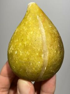 Early Italian Alabaster Stone Fruit Light Yellow Alabaster Fig Great Patina