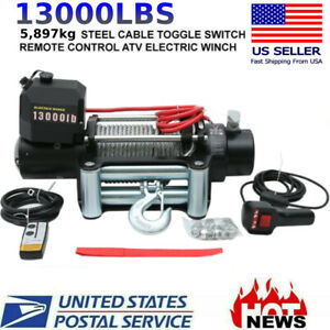 Car 13000lbs Electric Winch Towing Truck Steel Wire Rope Off Road Atv Utv 12v Us