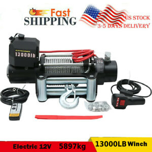 13000lbs Electric Winch Towing Truck Steel Wire Rope Off Road Atv Utv 12v 5897kg