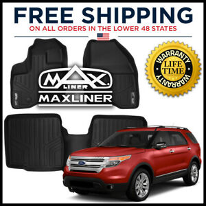 Maxfloormat 1st 2nd Floor Liners Black For 2011 14 Explorer W O 2nd Row Console