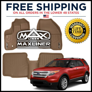 Maxfloormat 1st 2nd Floor Liners Tan For 2011 14 Explorer W O 2nd Row Console