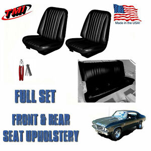 1968 Chevelle Front rear Black Seat Upholstery Hog Ring Install Pliers Kit
