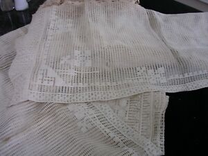 H Lot Of 3 Panels Of Genuine Antique Lace Curtains Selling As Is Very Old